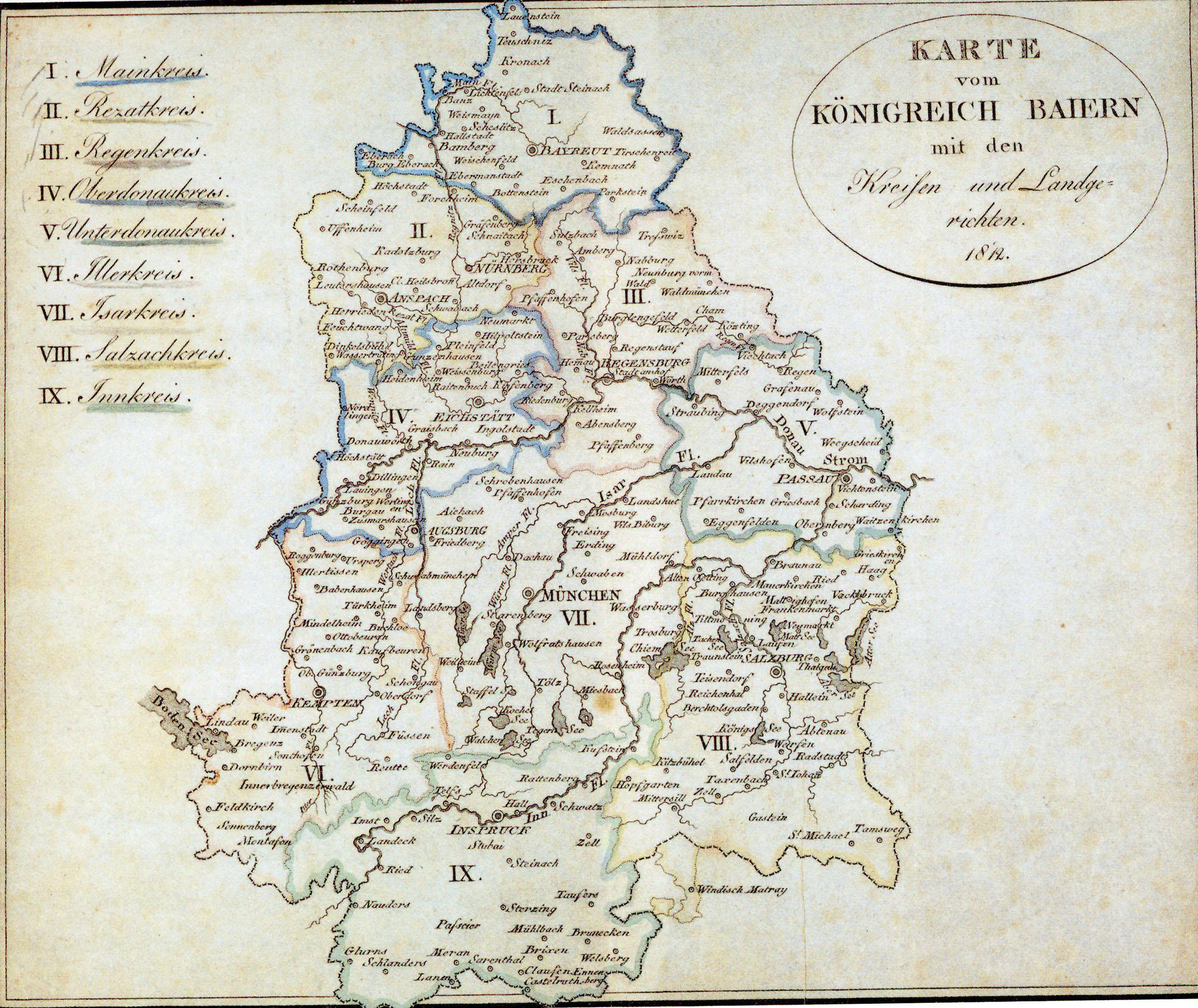 Königreich Baiern, Karte aus 1812 (Archiv des Verfassers)