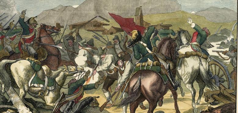 Aufständische Tiroler mit primitiven Spießen und Schlagwerkzeug attackieren feindliche Reiter.