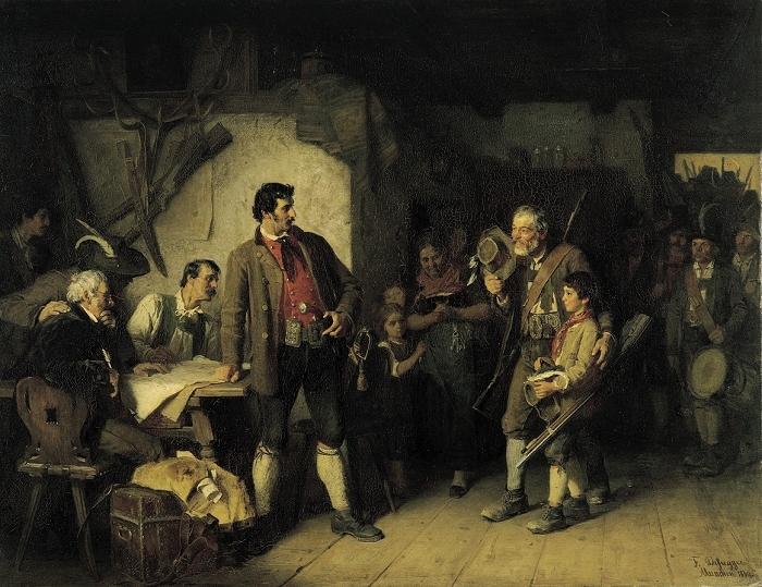 Josef Speckbacher und sein Sohn Anderl. (Gemälde von Franz von Defregger 1869) Das berührende Bild zeigt die Wirtsstube im Bärenwirt zu St. Johann, wo Speckbacher Kriegsrat hält. Sein bewaffneter Sohn Anderl tritt mit Schützen ein und überrascht den Vater.