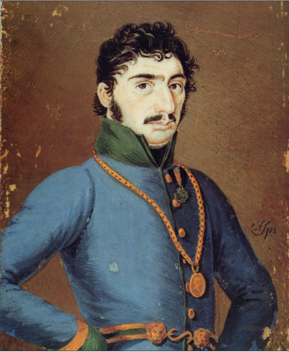 Dieses von seinem Sohn Andreas angefertigte Miniaturgemälde zeigt Josef Speckbacher mit der ihm vom Kaiser persönlich verliehenen Auszeichnung.