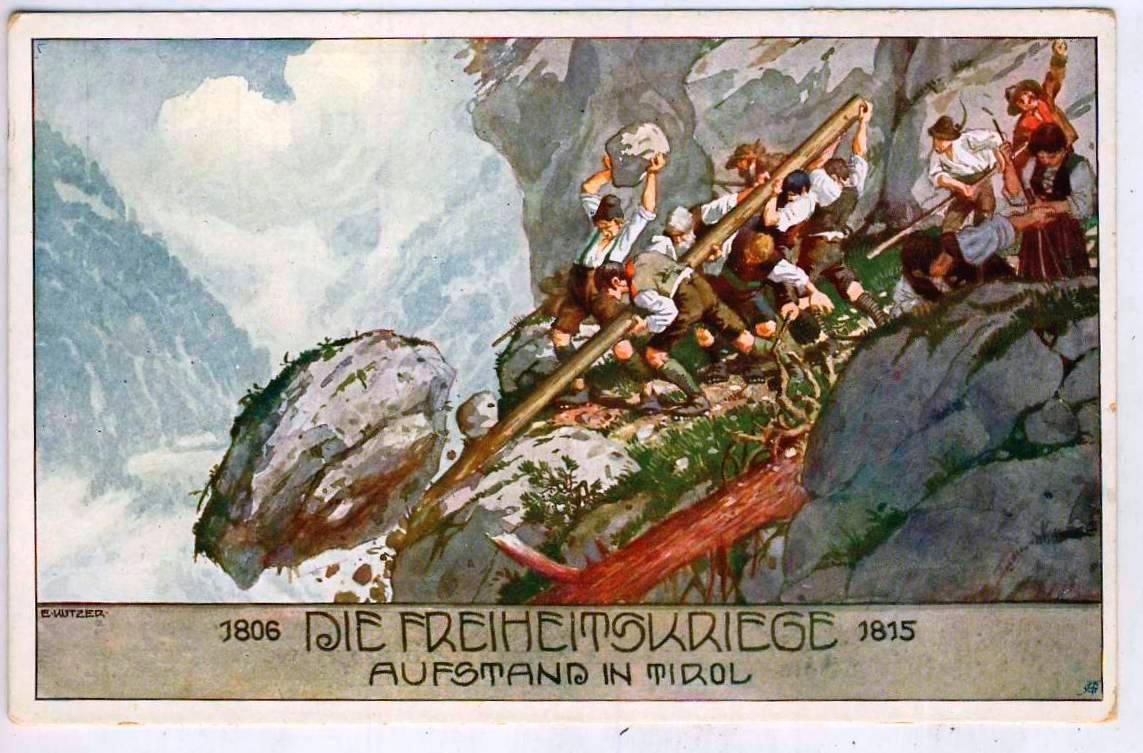"""Eine alte Postkarte: """"Die Freiheitskriege - Aufstand in Tirol""""."""