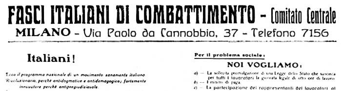 """Einer der vielen Aufrufe des Zentralkomitees der """"Fasci"""" in Mailand."""