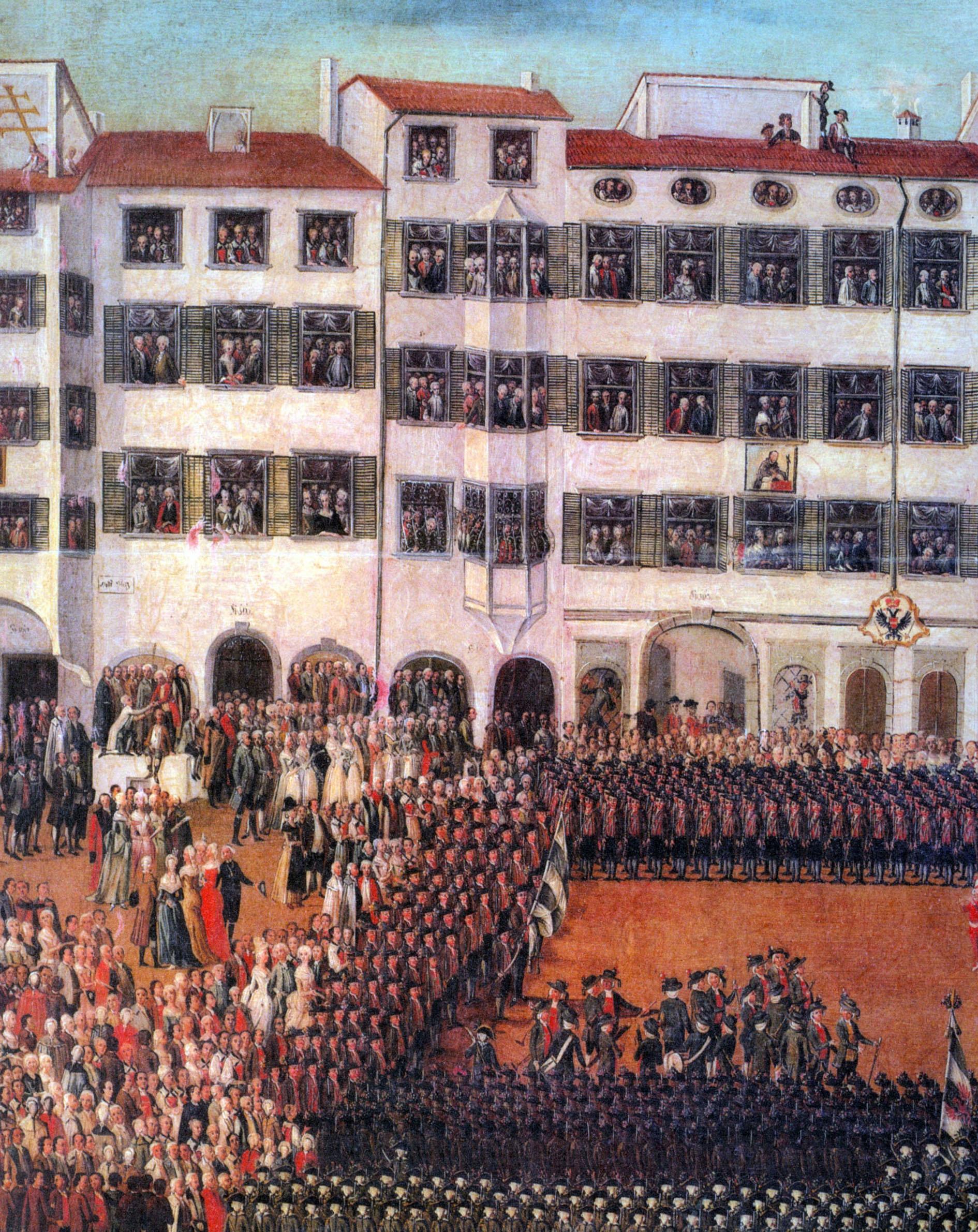 """Ausschnitt aus dem Gemälde """"Der Obstplatz"""" von1830. (Kunstmuseum des Servitenklosters in Innsbruck)"""
