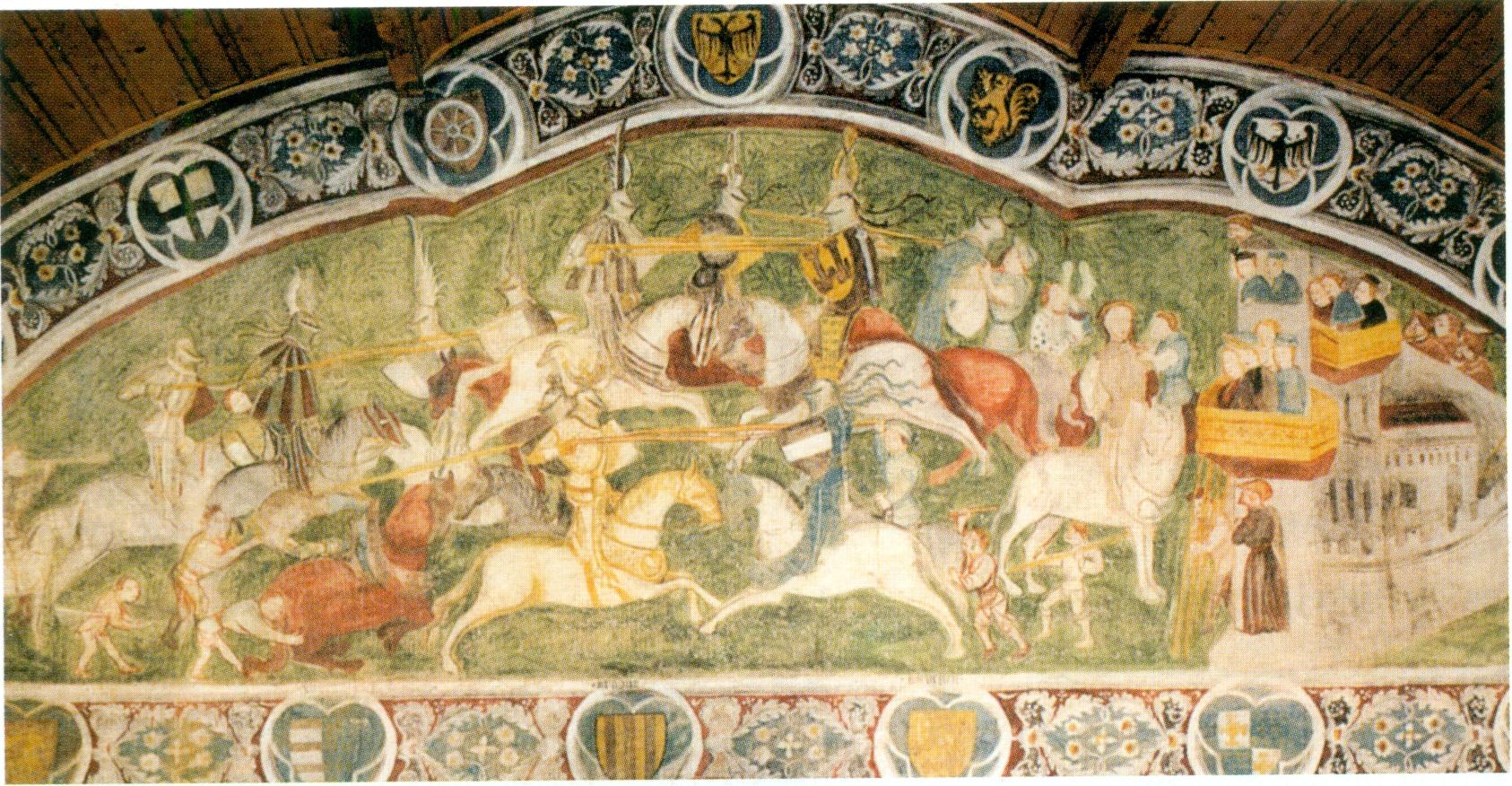 Ausschnitt aus den Fresken von Runkelstein, die wie ein Bilderbuch des höfischen Lebens Einblick geben in das Lebensgefühl des späten Mittelalters.