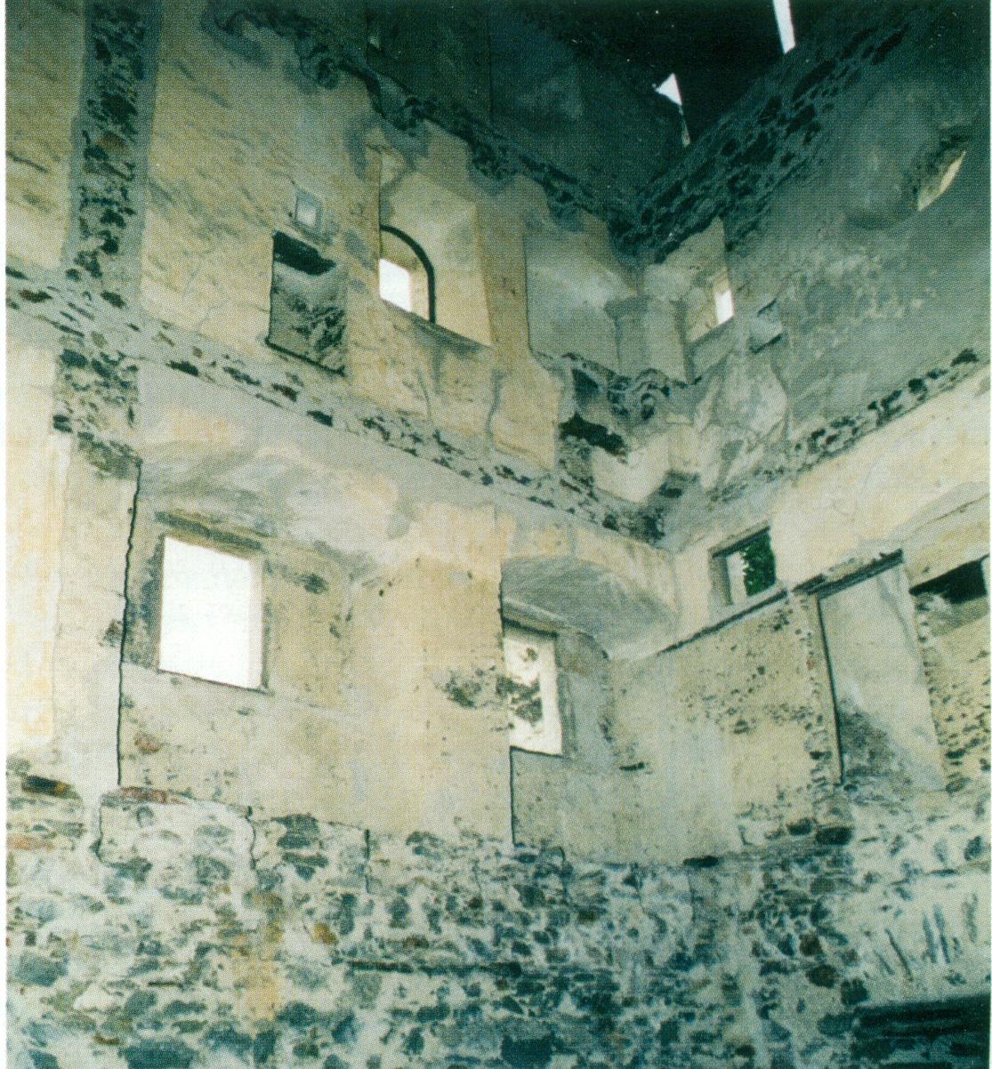 Innenansicht der Ruine Obermontani mit den noch erkennbaren herrschaftlichen Räumen im 2. Obergeschoß, wo man den Aufbewahrungsort und Fundort der Handschrift vermuten darf. Die Burg war vom 17. bis zum frühen 19. Jahrhundert im Besitz der Grafen Mohr.