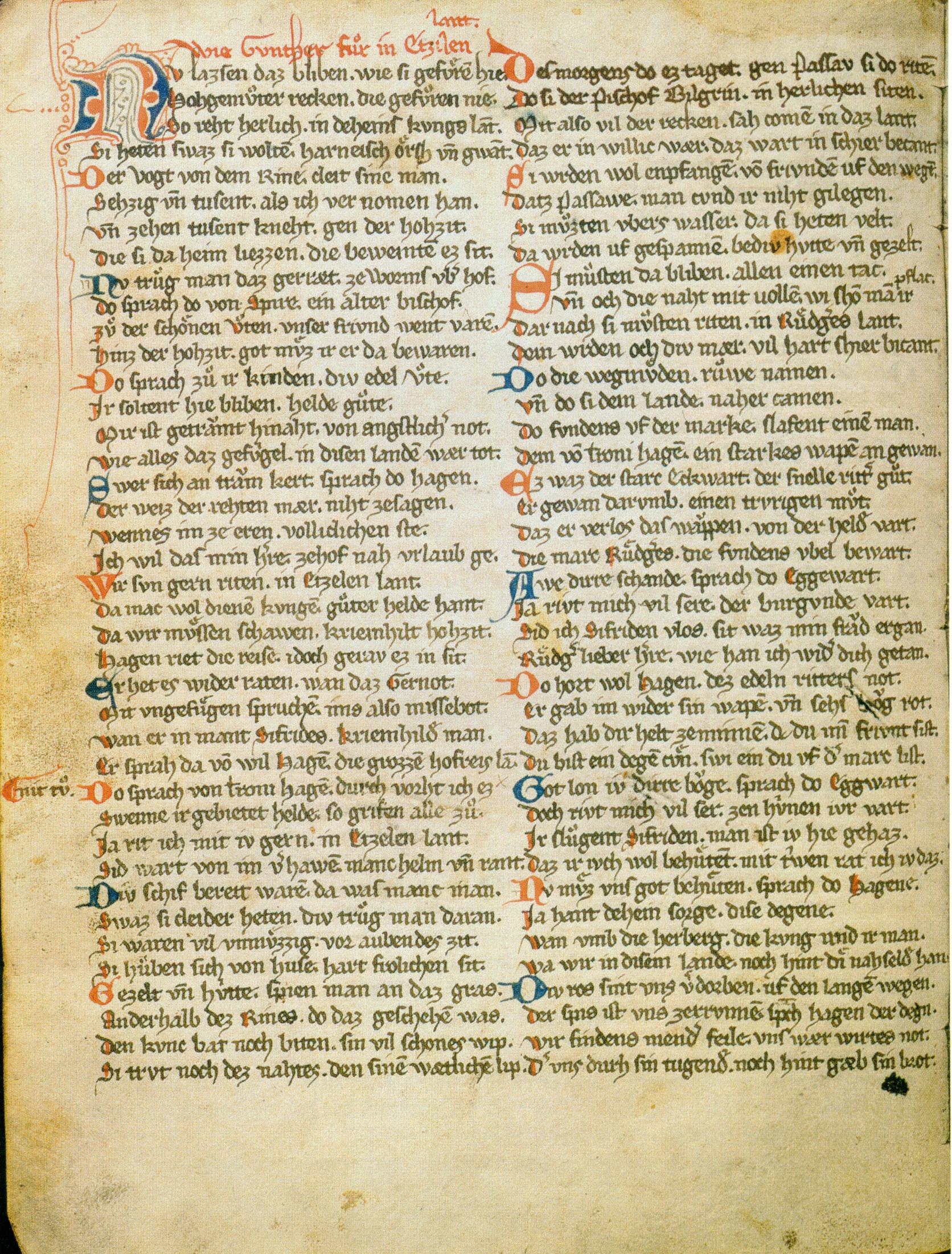 """Blatt Nr. 38v der Handschrift I – """"Wie Gunther fur in Etzilen lant."""" Die auf dieser Seite wiedergegebenen Strophen beschrieben den von Warnungen begleiteten Aufbruch der Burgunden ins Hunnenland."""