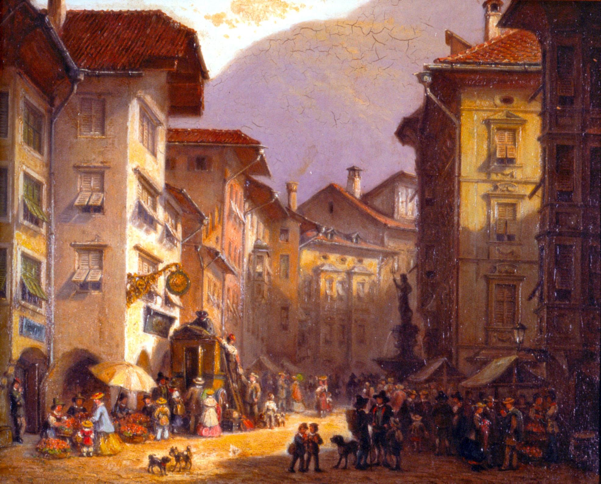 Bozner Obstplatz um 1875. Gemälde von Ferdinand Petzl. (Kunstgalerie Morandell GmbH Bozen)