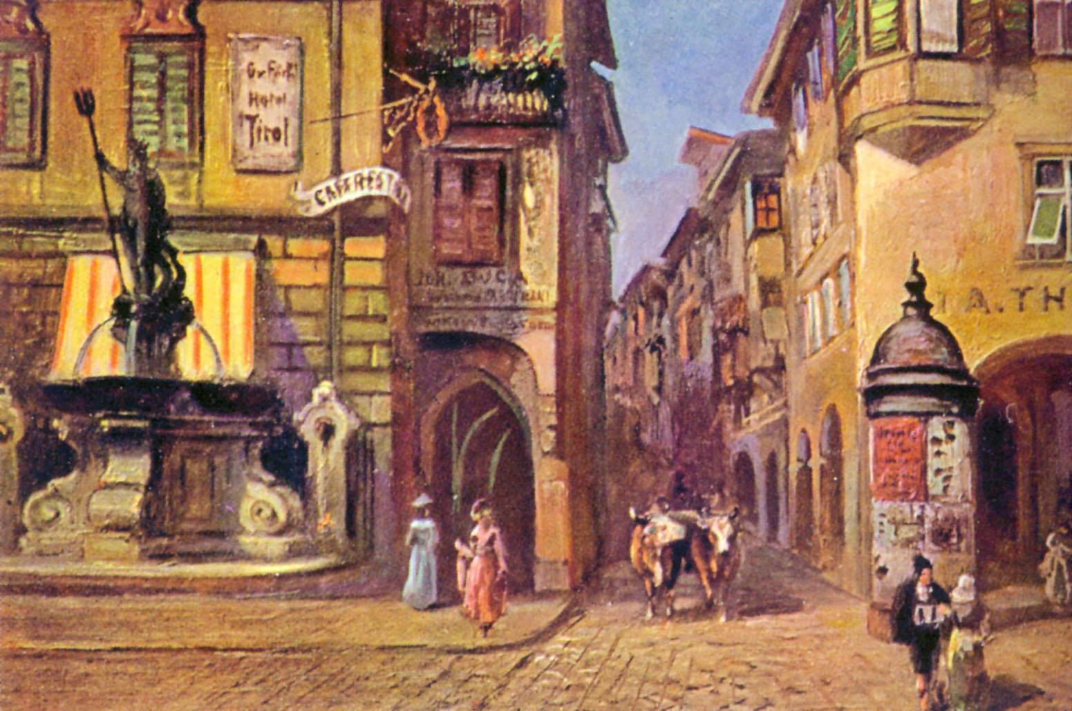 Westeingang Lauben in Bozen mit alten Adels- und Bürgerhäusern