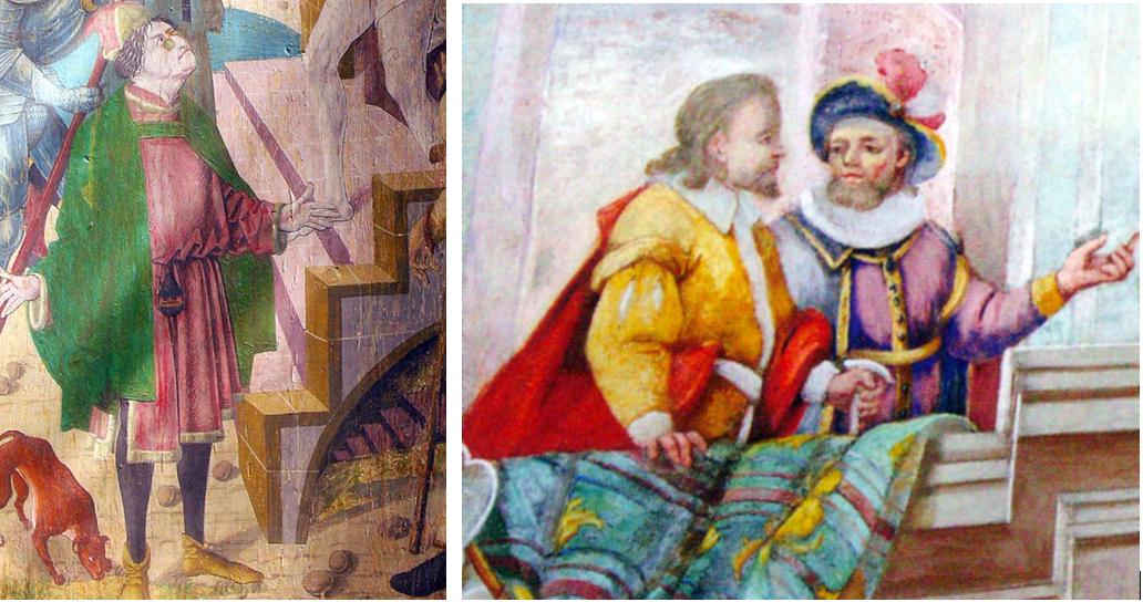 Bild links: Bozner Kaufmann mit Bügelbrille. Gemälde aus der alten Pfarrkirche in Gries-Bozen (etwa aus der Zeit 1435 - 1517) Bild rechts: Zwei deutsche Kaufleute, Deckenfresko Pfarrkirche Martell.