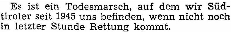 """Kanonikus Michael Gamper und sein Warnruf in den """"Dolomiten"""" vom 28. Oktober 1953."""