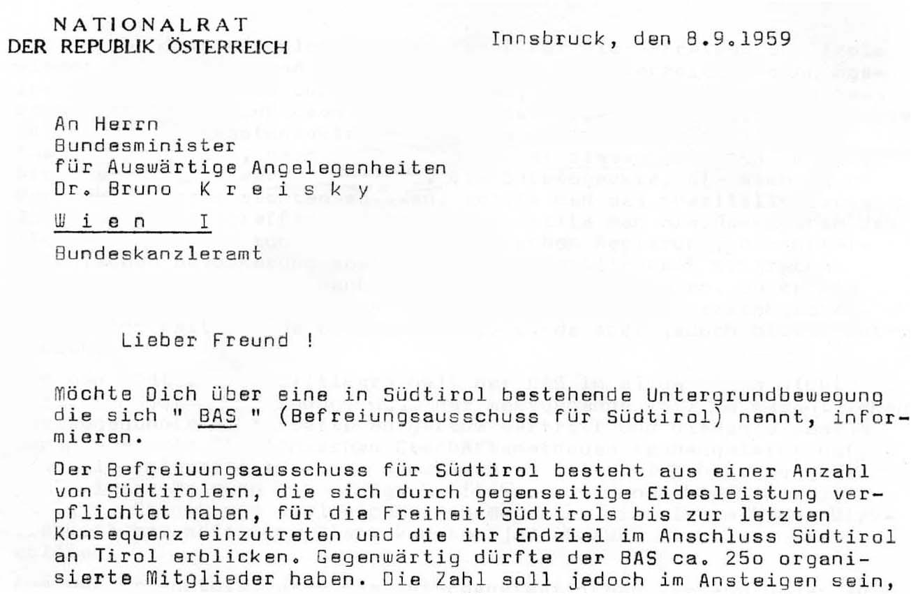 Zwei Ausschnitte aus einem Berichts Zechtls an Kreisky aus dem Jahre 1959.