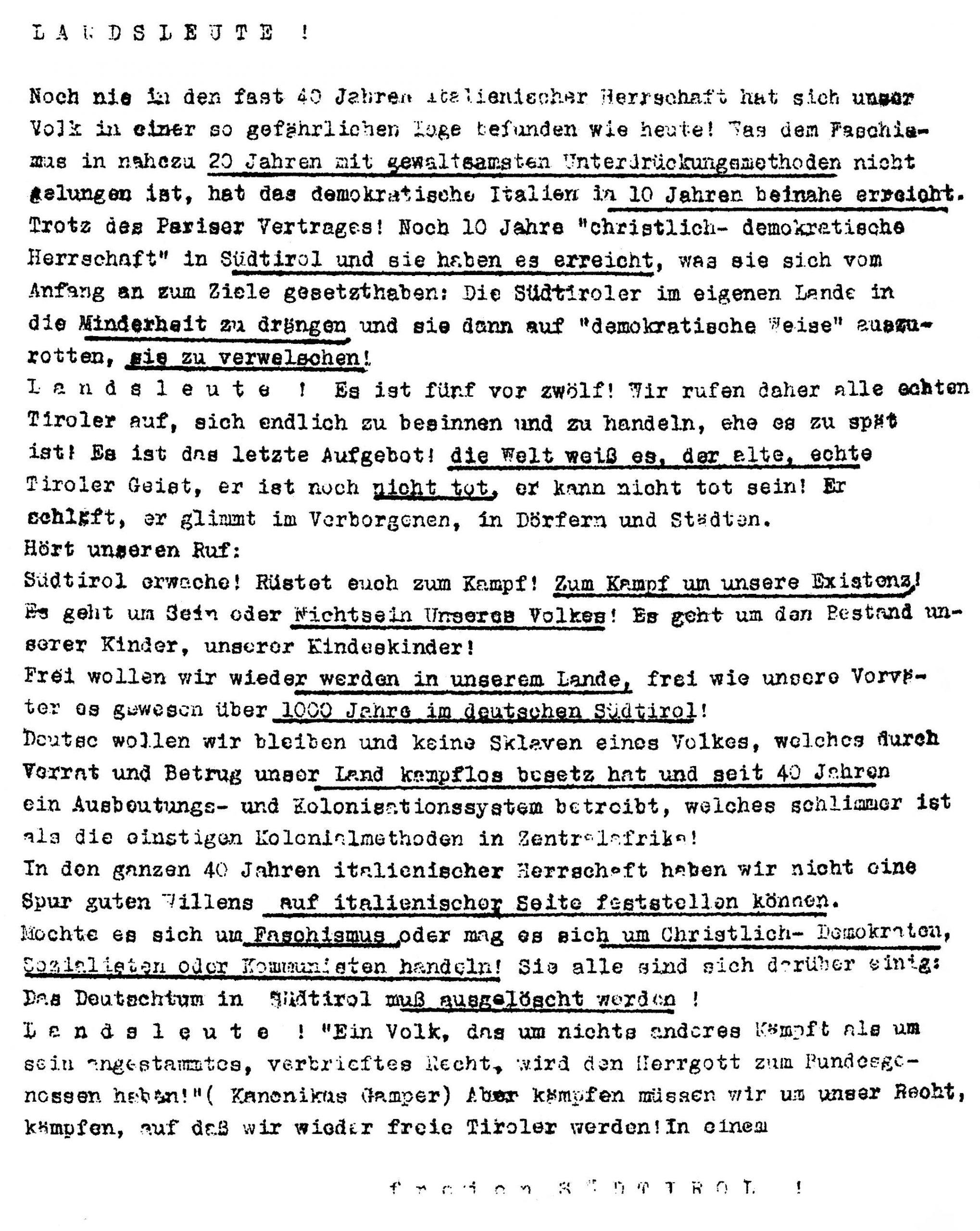 Ein von Sepp Kerschbaumer verfasstes und auf der Großkundgebung von Sigmundskron 1957 verteiltes Flugblatt.