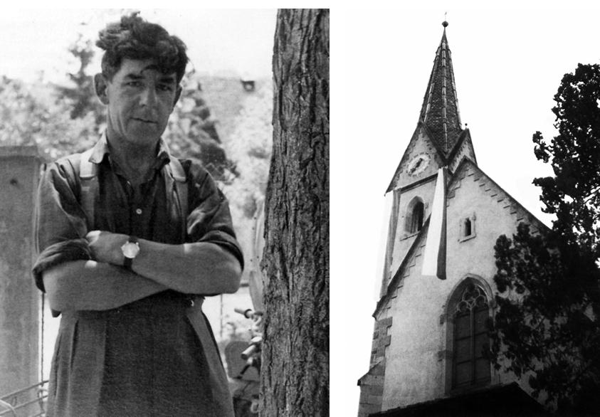 """Der Frangarter Kaufmann Josef Kerschbaumer und seine """"aufrührerische"""" Straftat: Eine Tiroler Fahne, die Kerschbaumer zu Andreas Hofers Gedenken an dem Kirchturm in Frangart gehisst hatte."""