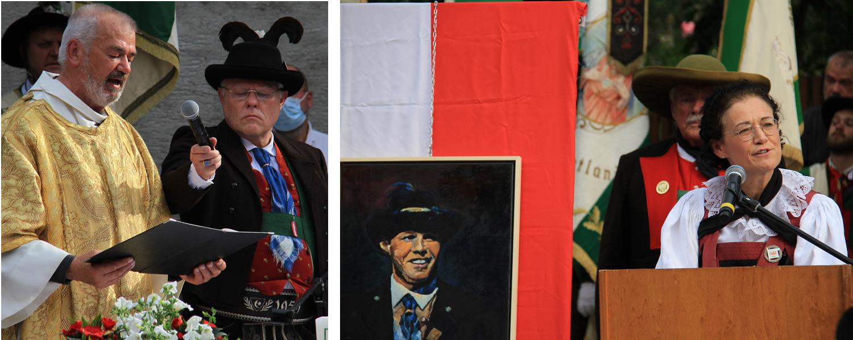 Bild links: Diakon Pirpamer und rechts der ehemalige österreichische Südtirolsprecher Werner Neubauer, der Mitglied der Schützenkompanie Gries ist. Bild rechts: Frau Dr Margareth Lun. (Bilder: Südtiroler Schützenbund)