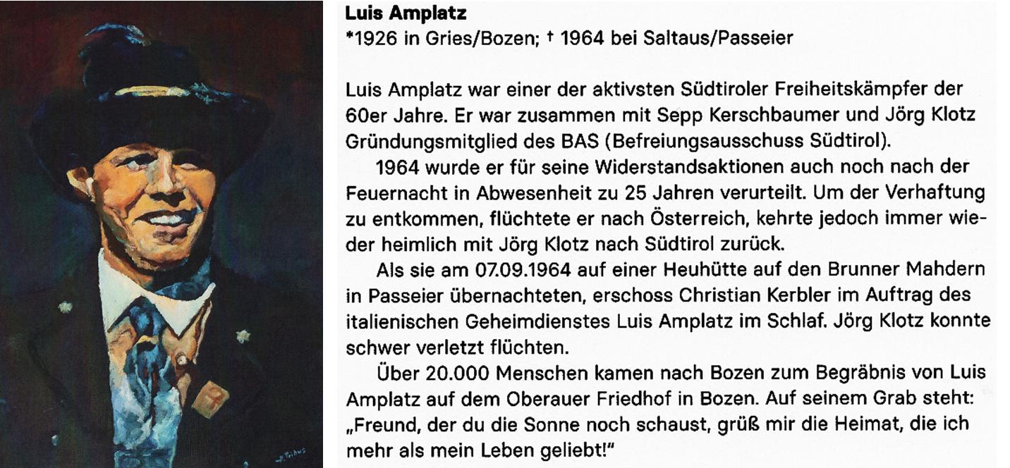 Vorderseite und Rückseite der Postkarte mit dem Bild von Luis Amplatz.